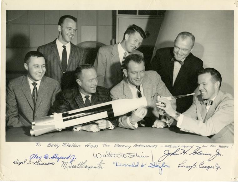 "Mercury Project, Astronauts, NASA; Shepard, Alan B., Jr.; Grissom, Virgil Ivan ""Gus""; Carpenter, Malcolm Scott; Schirra, Walter Marty, Jr. ""Wally""; Slayton, Donald Kent ""Deke"" (Major); Glenn, John Herschel, Jr.; Cooper, Leroy Gordon, Jr."