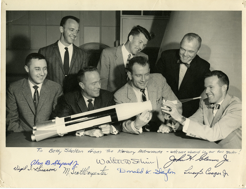 "Mercury Project, Astronauts, NASA; Shepard, Alan B., Jr.; Grissom, Virgil Ivan ""Gus""; Carpenter, Malcolm Scott; Schirra, Walter Marty, Jr. ""Wally""; Slayton, Donald Kent ""Deke"" (Major); Glenn, John Herschel, Jr.; Cooper, Leroy Gordon, Jr."